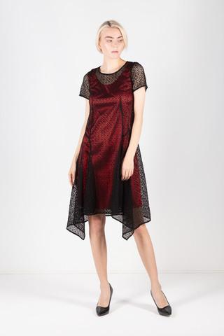 Фото дизайнерское кружевное платье с двумя основами: алой и синей в комплекте - Платье З432-419 (1)