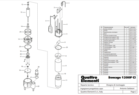 Якорь QUATTRO ELEMENTI Sewage 1200F Ci OLD пакет диаметр 60мм / длина 105 мм