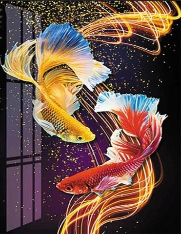 Алмазная Мозаика 40x50 Рыбы в воде (арт. HWSA5094)
