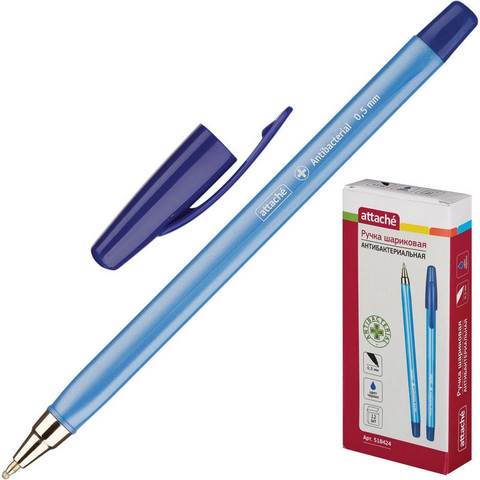 Ручка шариковая Attache Antibacterial синяя (толщина линии 0.5 мм)