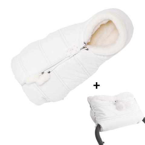 Комплект конверт + муфта Lollycottons белая