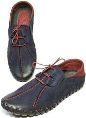 Комфортные туфли мужские синие кожаные Luciano Bellini 23406-00 LNBN.