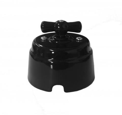 Выключатель керамический 1-2 клавишный (черный)