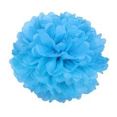 Помпон из бумаги 30 см синий