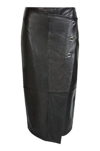 Юбка черная кожа Oui арт.63639