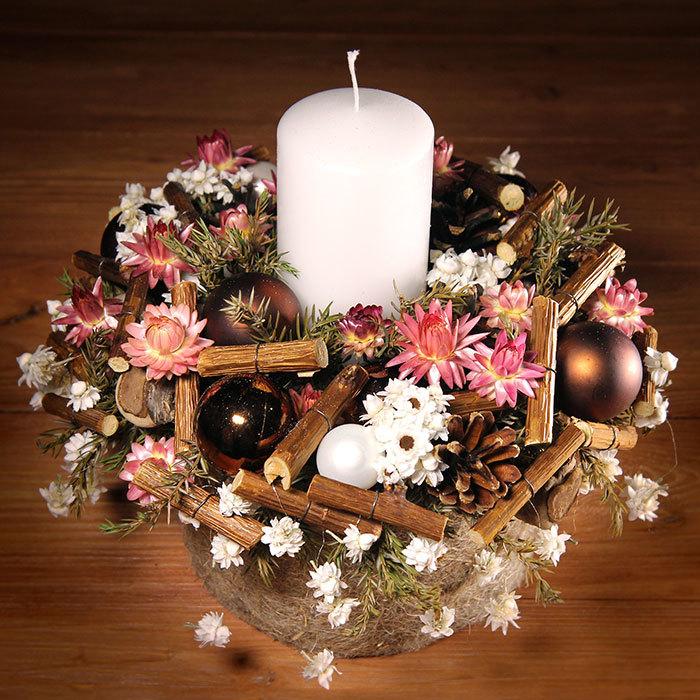 Декор интерьера композиция из сухоцветов со свечой Подарок на Новый год Пермь