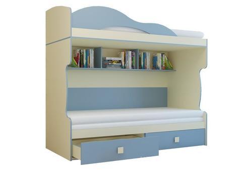 Кровать Радуга 2 этаж + тахта 80х200 Горизонт василек