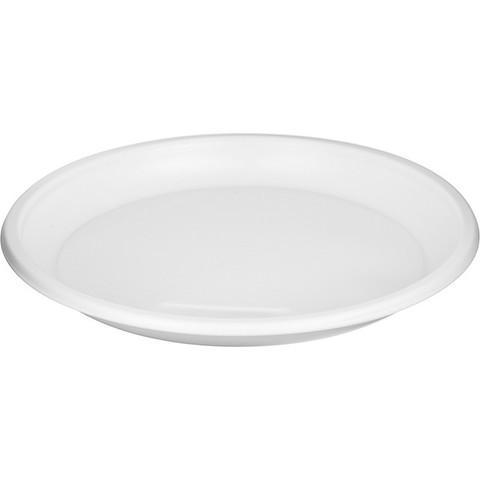 Тарелка одноразовая пластиковая белая 205 мм 50 штук в упаковке