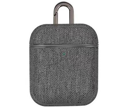 Чехол для Airpods с карабином текстура | серый