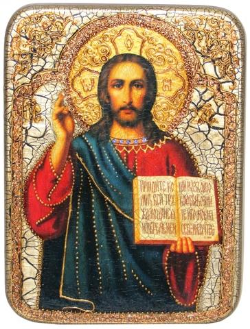 Инкрустированная икона Господа Иисуса Христа 29х21см на натуральном дереве в подарочной коробке