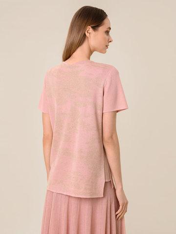 Женская футболка светло-розового цвета из вискозы - фото 2