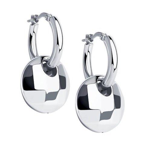 94024334 - Серьги из серебра с круглыми подвесками