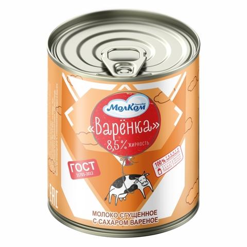 Молоко сгущеное с сахаром вареное ВАРЕНКА 8,5% 380 г ж/б МолКОМ КАЗАХСТАН