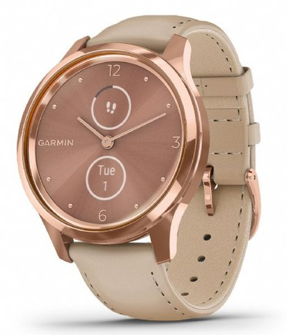 Garmin Vívomove Luxe - Rose Gold with Beige Italian Leather Band
