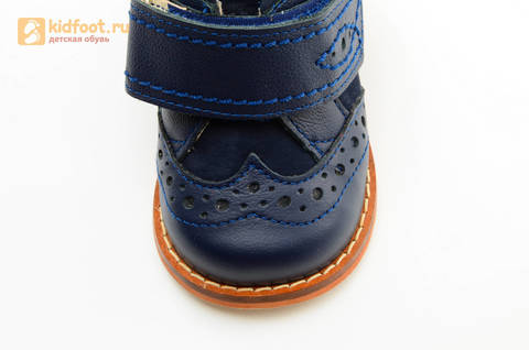 Ботинки для мальчиков Тотто из натуральной кожи на липучке цвет Синий, 09A. Изображение 12 из 14.