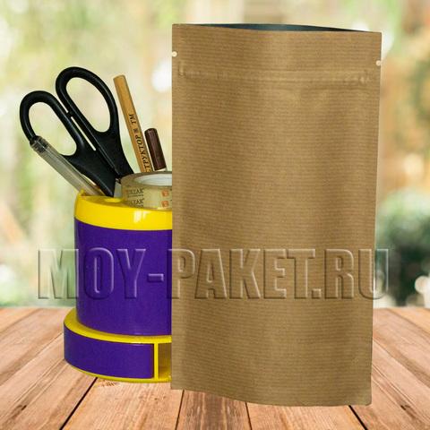 Крафт пакет дой-пак с замком зип-лок металлизированный 120x210 мм