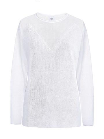 Женский джемпер белого цвета с фигурным лифом - фото 1