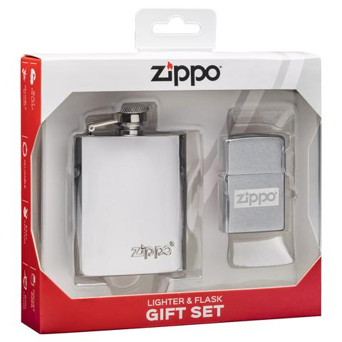 Подарочный набор: фляжка 89 мл и зажигалка в коробке с подвесом ZIPPO