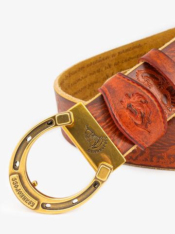 Ремень «Вольные кони» сыромятный рыжего цвета