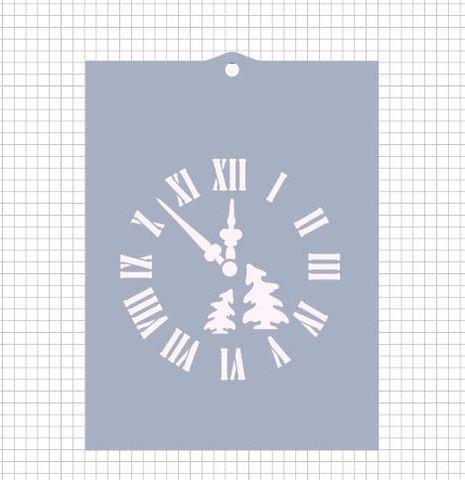 Трафарет №887 - Новогодние часы