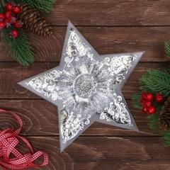 Декор звезда с гирляндой, 25*23.8 см