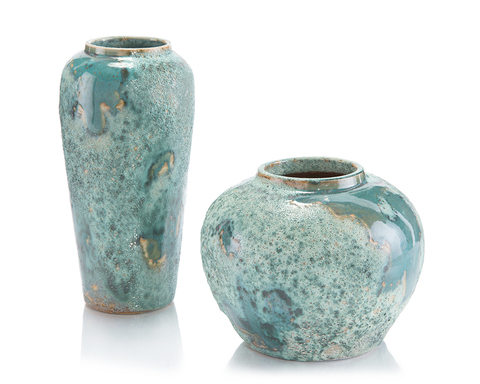 Set of Two Sea-Foam Vases