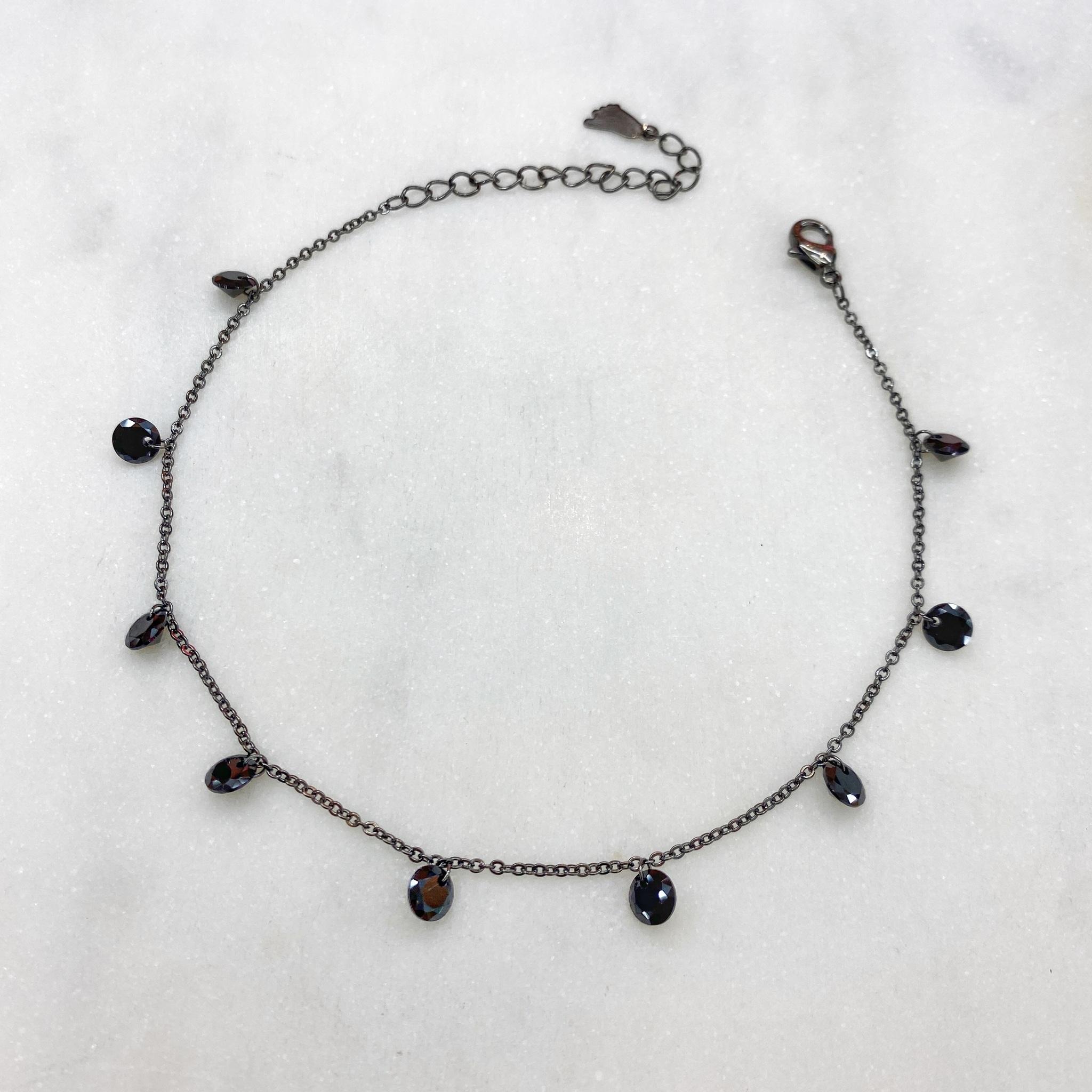 Анклет с круглыми цирконами без огранки (черный)