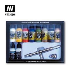 Набор акриловых красок с аэрографом в комплекте - MODEL AIR SET: BASIC COLORS (10) + AIRBRUSH