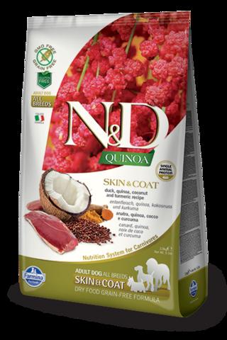 Сухой беззерновой корм Farmina N&D GF Quinoa Skin&Coat Duck Adult Dog All Breeds