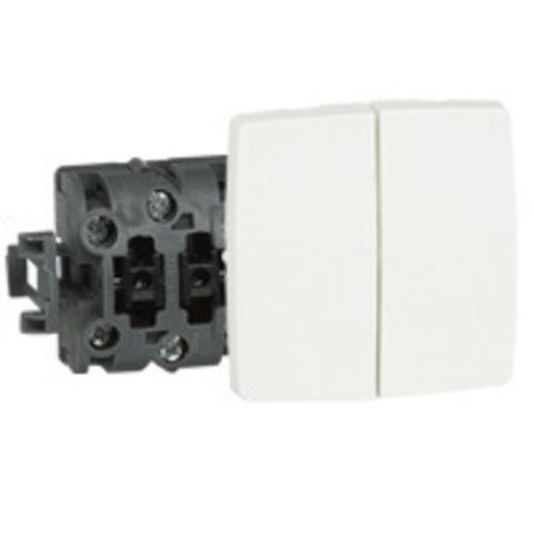 Выключатель двухклавишный Двойной переключатель - 10 AX - 250 В~. Цвет Белый. Legrand Oteo (Легранд Отео). 086120