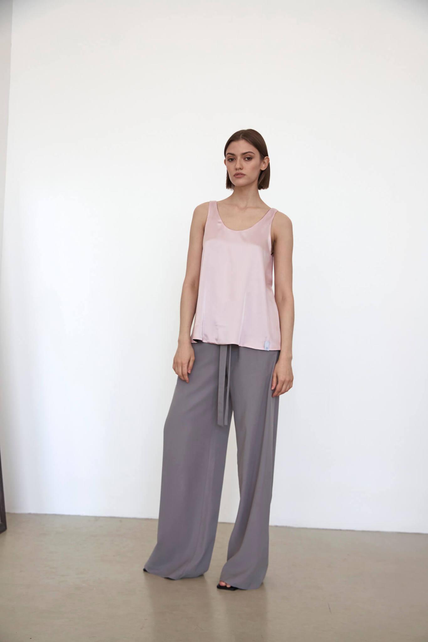 Прямые брюки на кулиске, серый тенсел