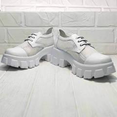 Модные туфли женские на платформе летние Gold Deer 157-963 White.