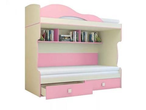 Кровать Радуга 2 этаж + тахта 80х200 Горизонт фламинго