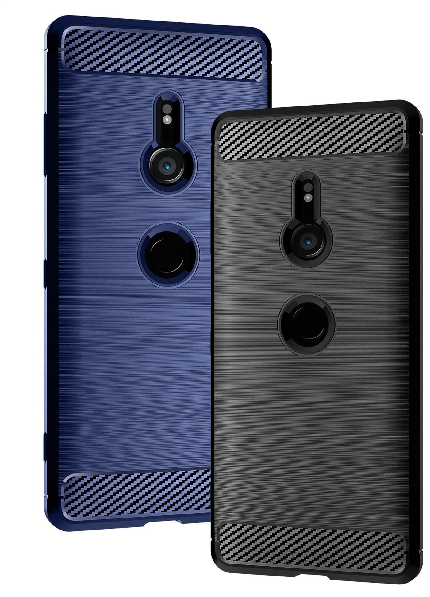 Чехол на Sony Xperia XZ3 цвет Blue (синий), серия Carbon от Caseport