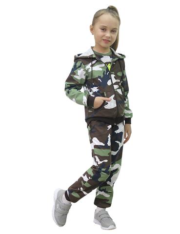 Костюм детский трикотажный BVR-Sport (Футер Бело-зелёный КМФ 3746) 100 % хлопок
