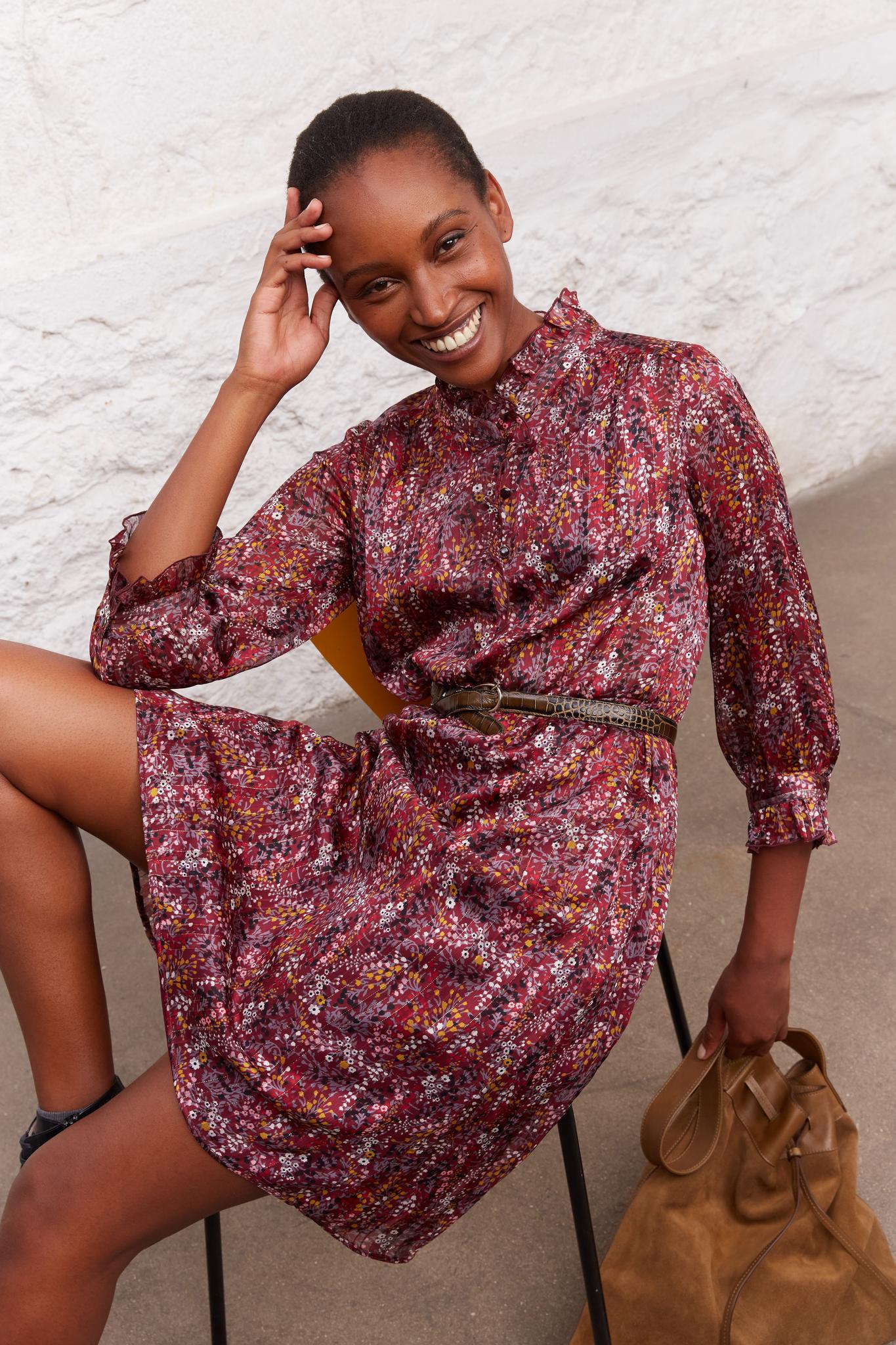 Платье с люрексом и цветочным принтом