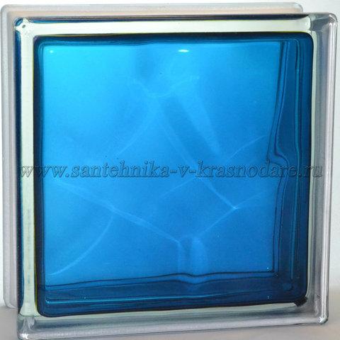 Купить стеклоблок синий волна окрашенный изнутри Vitrablok 19x19x8