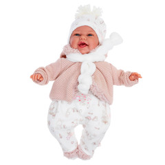 Munecas Antonio Juan Кукла Лейла в бежевом, озвученная (детский лепет), 34 см (7046)
