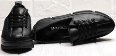 Черные кроссовки женские туфли на шнурках танкетка 5 см Mario Muzi 1350-20 Black.
