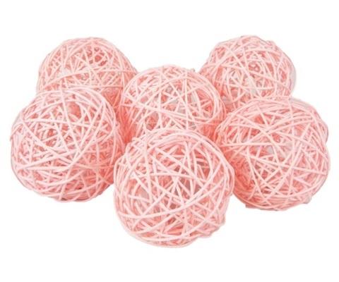 Плетеные шары из ротанга (набор:6 шт., d10см, цвет: светло-розовый)