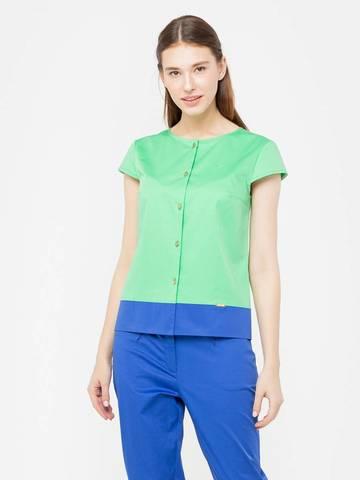 Фото салатовая блузка с синей окантовкой снизу и короткими рукавами - Блуза Г620-513 (1)