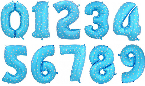 Цифра фольгированная голубая в звездах 101 см.