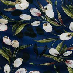 Полиэстеровый сатин с тюльпанами