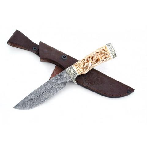 Нож Лорд подарочный, дамасская сталь, рукоять из кости