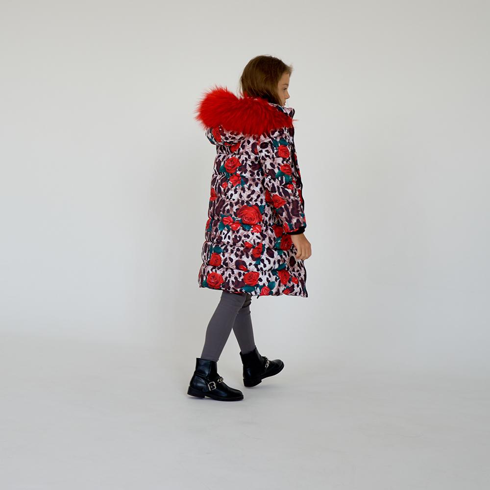 Детское подростковое зимнее пальто с принтом  Лео  розы с натуральной опушкой