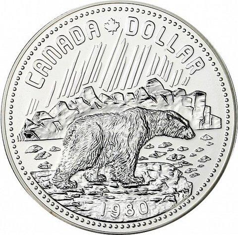 1 доллар. 100 лет арктическим территориям. Канада. Серебро. 1980 год. BrUNC