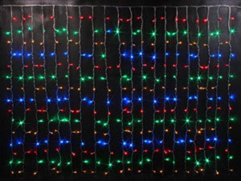 Гирлянда светодиодный занавес 2*3, с контроллером, цвет Мульти, провод прозрачный