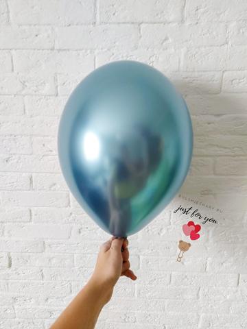 Воздушный шар голубой хром