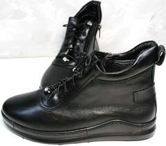 Черные осенние ботинки женские Evromoda 375-1019 SA Black