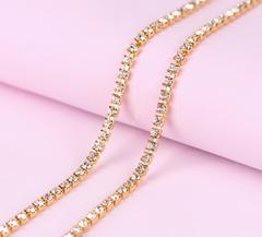 Стразы прозрачные на металлической цепочке 2,2-2,5 мм, 0,5 м.